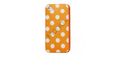 Polkaprikket iPhone 4 Cover i TPU Gummi - Hvide Prikker / Orange