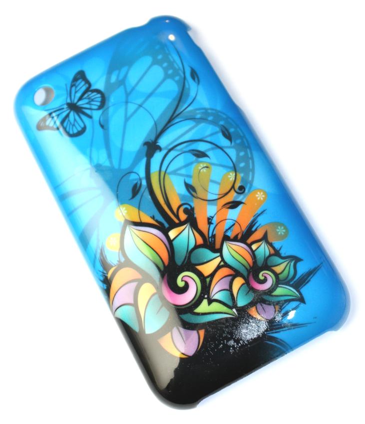 Luxus iPhone 3GS cover blåt med sommerfugl