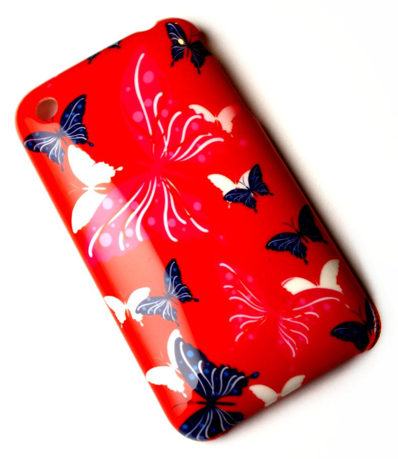 Luxus iPhone 3GS cover rødt med sommerfugle