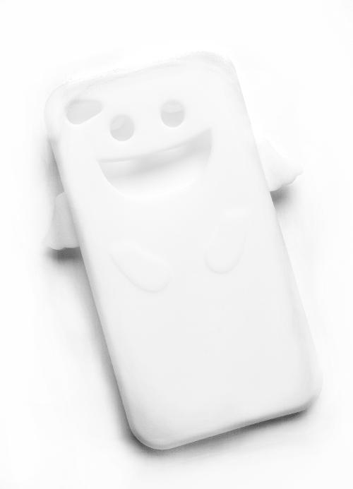 Billede af Silikonecover til iPhone 4, hvid m. englevinger