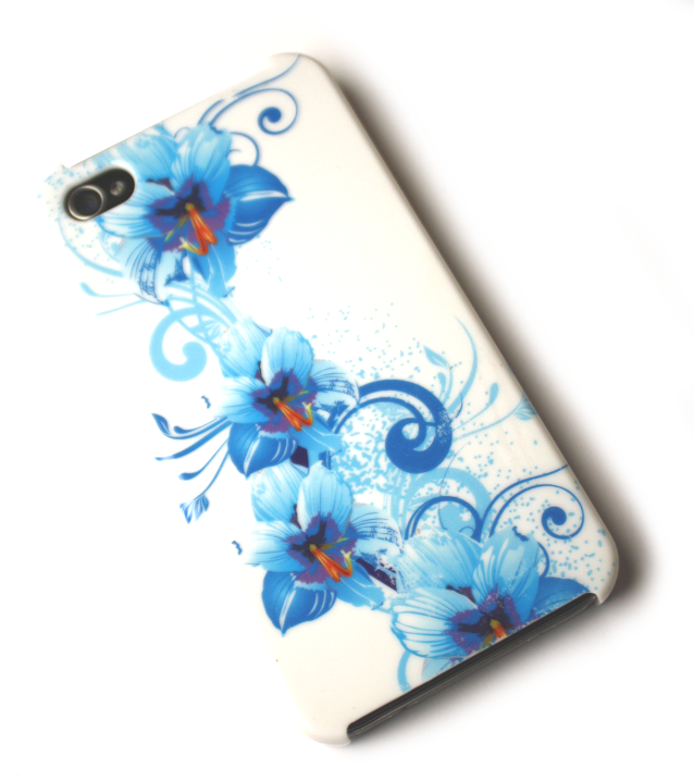 Image of   Lux iPhone 4 cover med blå blomster