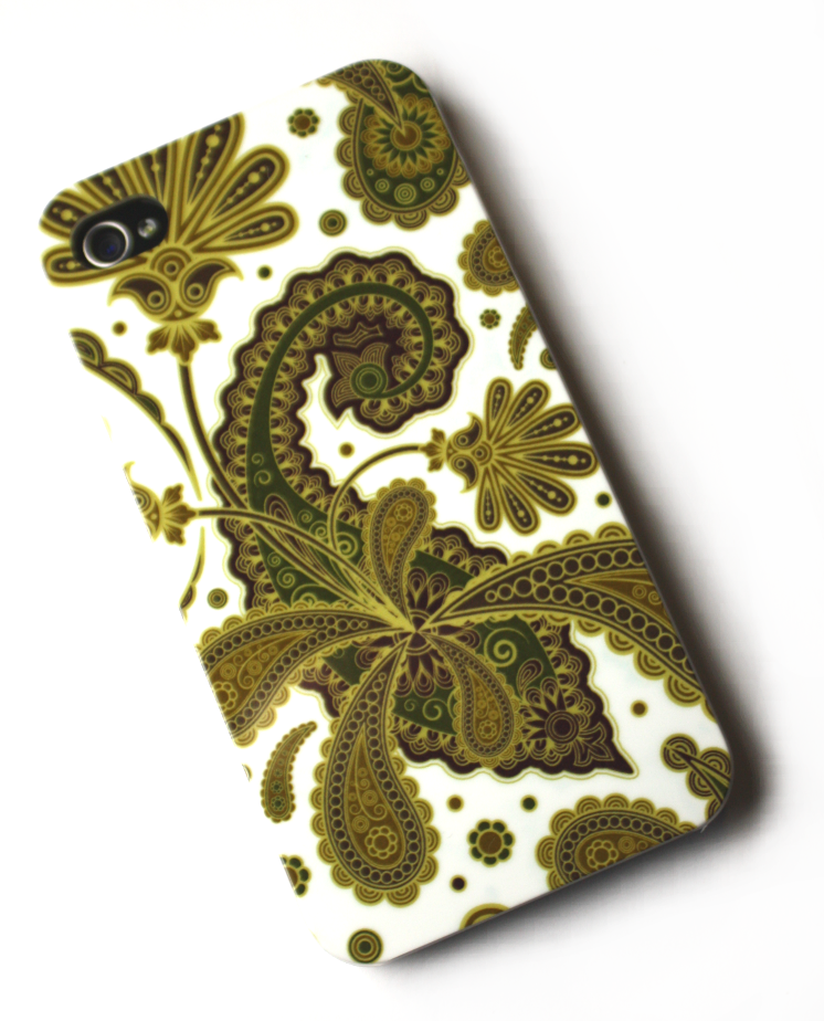 Image of   Lux iPhone 4 cover med gyldne blomster