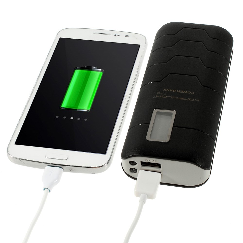 Konfulon Capsule 15.000 mAh Power Bank med LCD-display og 2xUSB-output