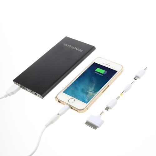 Ultratynd Power Bank i børstet aluminium med 12.000mAh kapacitet
