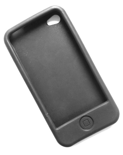 Billede af Silikonecover til iPhone 4, sort med knap