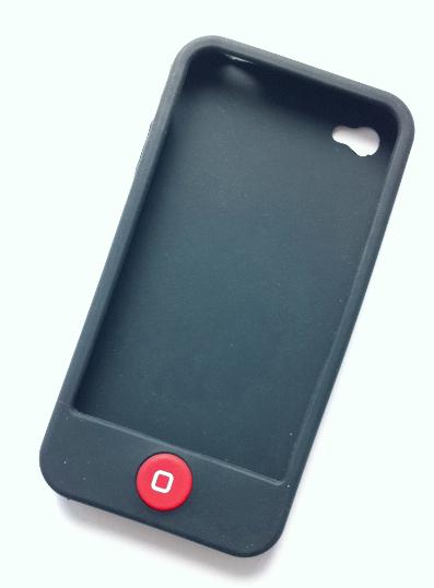 Billede af Silikonecover med rød knap til iPhone 4, sort