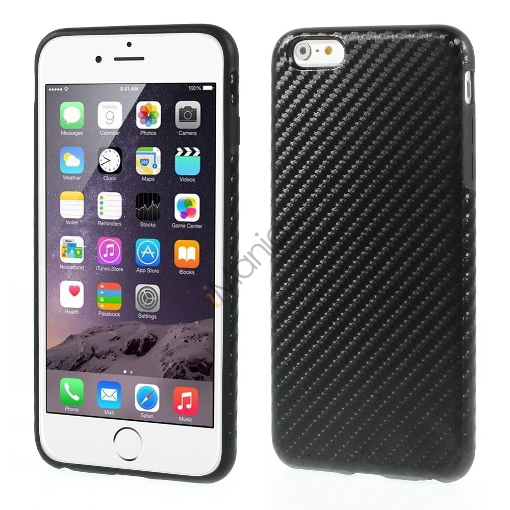 iPhone 6 Plus Cover i TPU-gummi betrukket med kulfiber/PU-læder, Sort