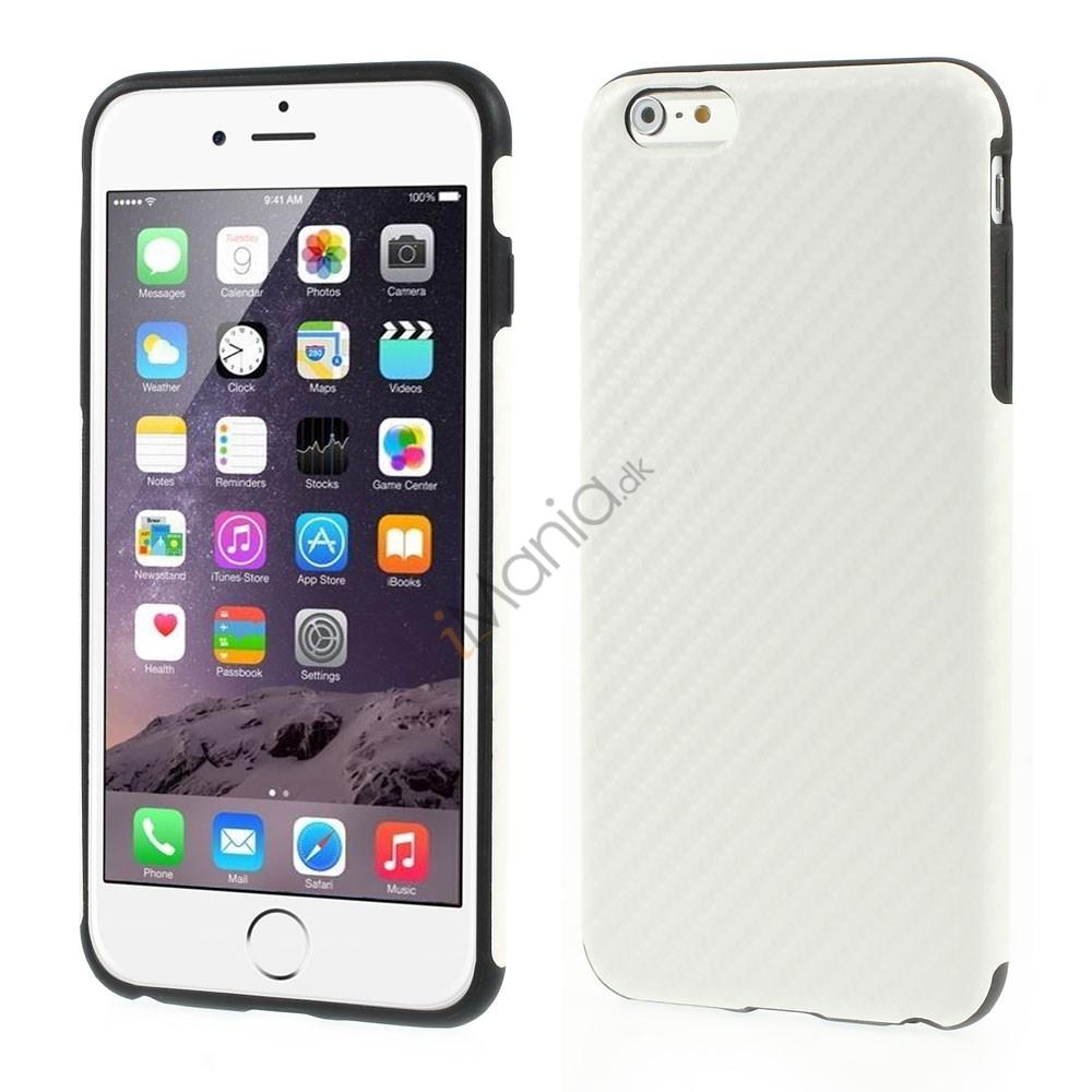 iPhone 6 Plus Cover i TPU-gummi betrukket med kulfiber/PU-læder, Hvid