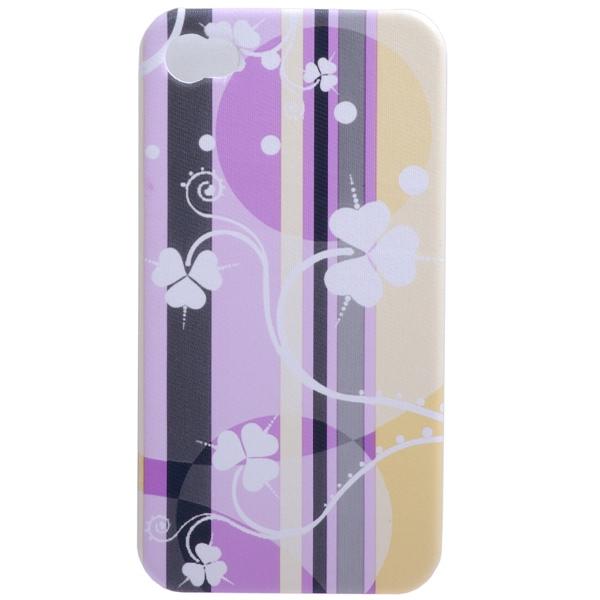 Image of   iPhone 4 luxus cover med kløver, lilla og gule striber
