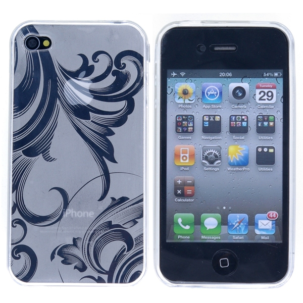 Image of   Blomstret iPhone 4 TPU cover, hvid