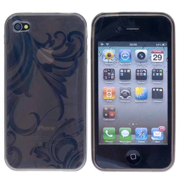 Image of   Blomstret iPhone 4 TPU cover, sort