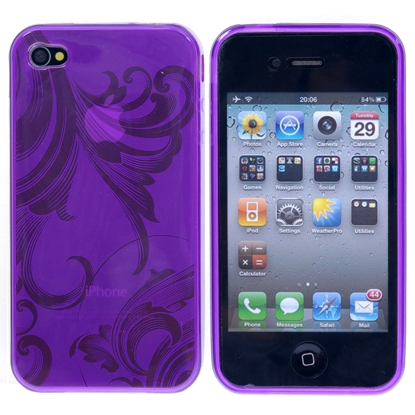 Image of   Blomstret iPhone 4 TPU cover, lilla