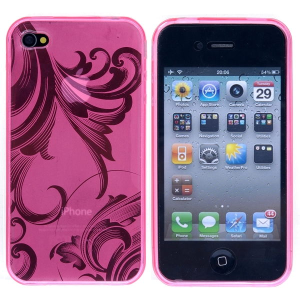 Image of   Blomstret iPhone 4 TPU cover, pink