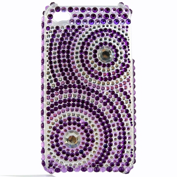 iPhone 4 / 4S bling cover lilla med cirkler