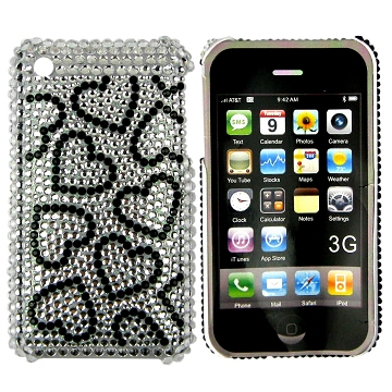 iPhone 3G bling cover med hjerter