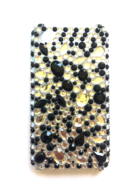 iPhone 4 / 4S bling cover med sorte og s�lvfarvede sten