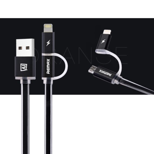 Remax Aurora Lightning + MicroUSB-kabel med LED, sort