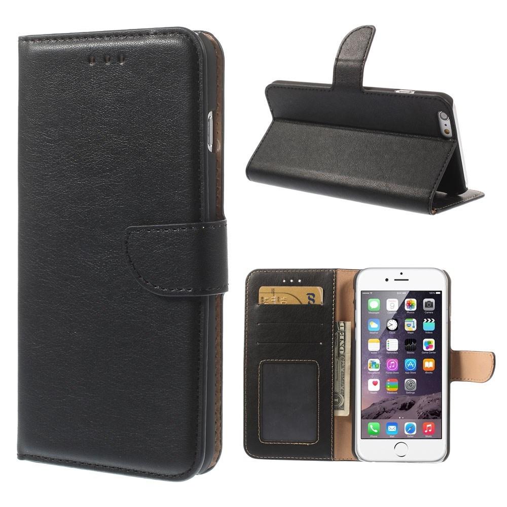 Vandret Flipcover til iPhone 6+/6S+ med kreditkortholder, sort