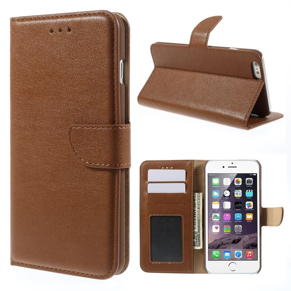 Vandret Flipcover til iPhone 6+/6S+ med kreditkortholder, brun