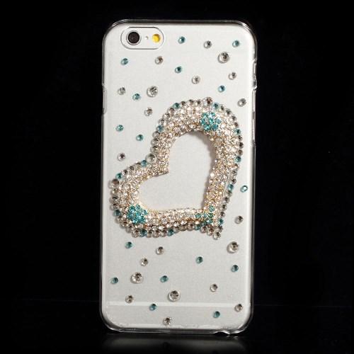 Glitter-cover til iPhone 6 / 6S med blåt smykkehjerte