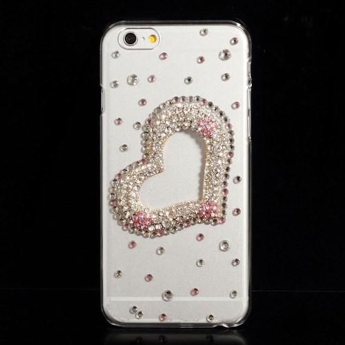 Glitter-cover til iPhone 6 / 6S med pink smykkehjerte
