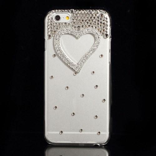 Glitter-cover til iPhone 6 / 6S med sølvfarvet smykkehjerte