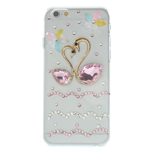 Image of   iPhone 6 bling-cover med svaner, pink