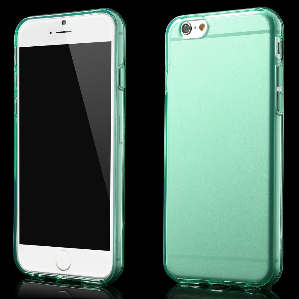Gennemsigtigt iPhone 6 cover i TPU, cyan