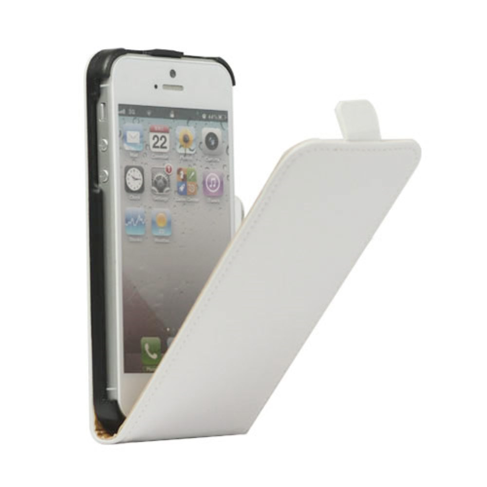 Lodret Læder Magnetisk Case iPhone 5 cover - Hvid