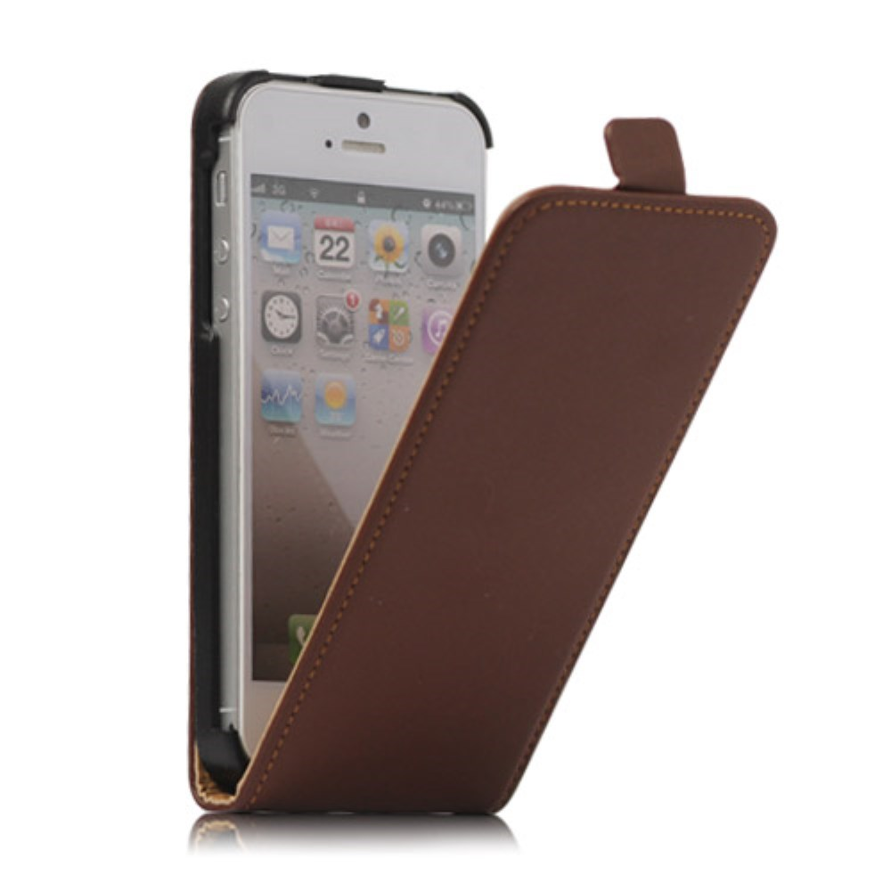 Image of   Lodret Læder Magnetisk Case iPhone 5 cover - Brun