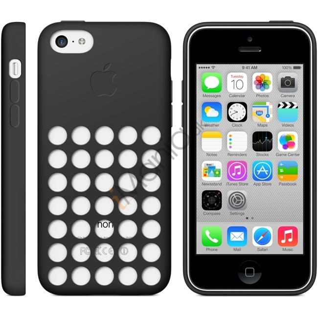Image of   iPhone 5C silikonecover med hulmønster, Sort
