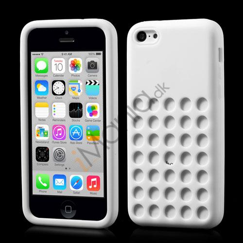 Image of   iPhone 5C silikonecover med hulmønster, Hvid