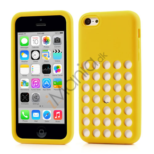 Image of   iPhone 5C silikonecover med hulmønster, Gul