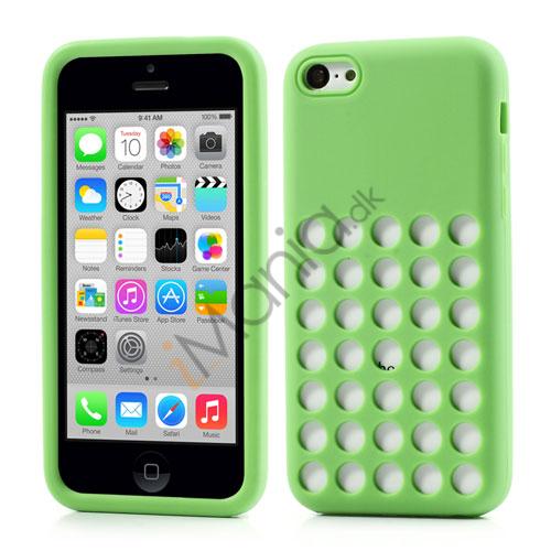 Image of   iPhone 5C silikonecover med hulmønster, Grøn