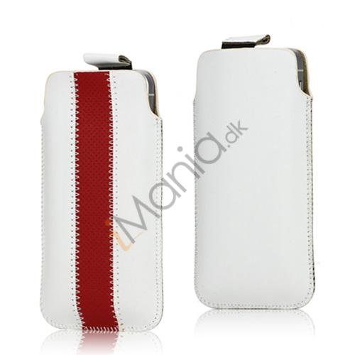Image of   PU Læderetui med trækstrop og farvet stribe til iPhone 5 5S og 5C, rød og hvid