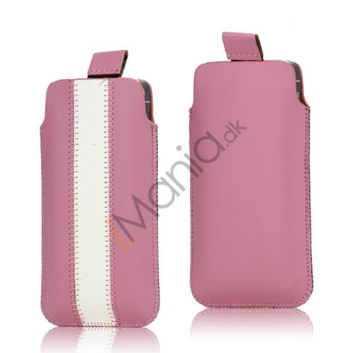 Image of   PU Læderetui med trækstrop og farvet stribe til iPhone 5 5S og 5C, hvid og pink