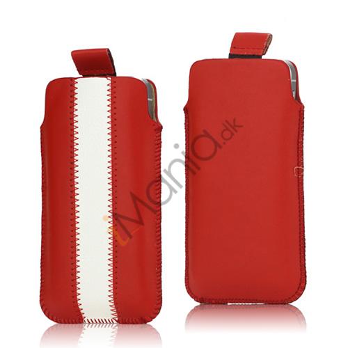 Image of   PU Læderetui med trækstrop og farvet stribe til iPhone 5 5S og 5C, hvid og rød