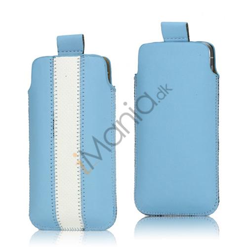 Image of   PU Læderetui med trækstrop og farvet stribe til iPhone 5 5S og 5C, hvid og blå