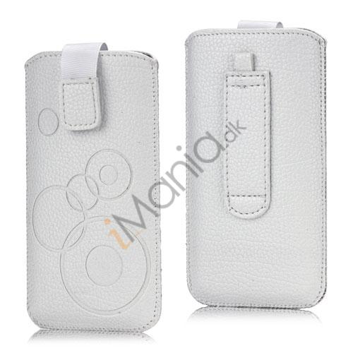 Image of   iPhone 5, 5S and 5C Etui med trækstrop, velkrolås og cirkelmønster, hvid
