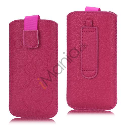 Image of   iPhone 5, 5S and 5C Etui med trækstrop, velkrolås og cirkelmønster, pink