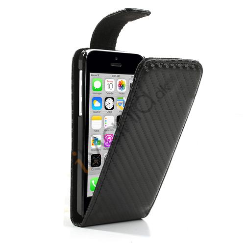 Image of   Kulfiber-mønstret PU Læderetui til iPhone 5C med magnetlås