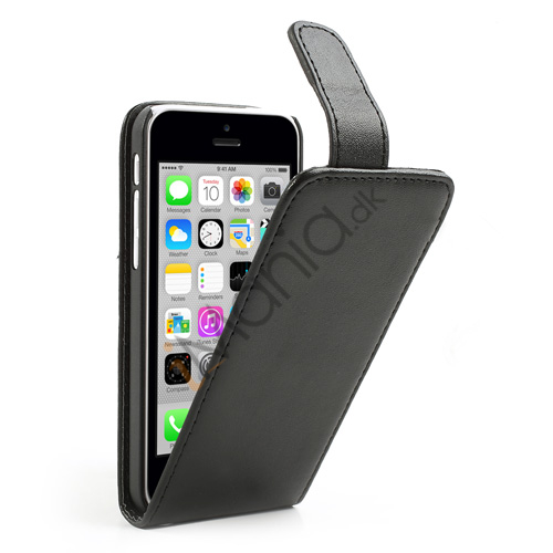 Image of   Lodret Magnetisk Flipcover til iPhone 5C, sort