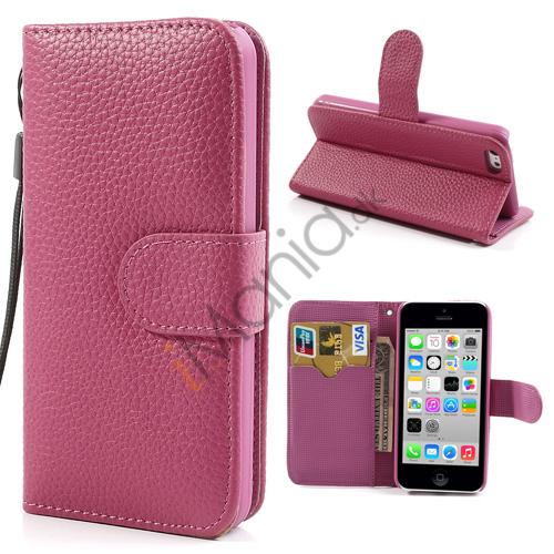 Image of   iPhone 5C PU Læder etui med håndstrop og magnetlås, pink