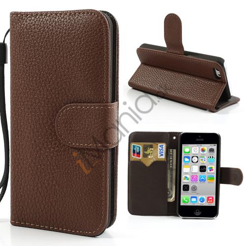 Image of   iPhone 5C PU Læder etui med håndstrop og magnetlås, brun