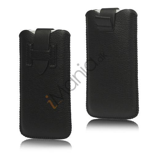 Image of   iPhone 5/5S/5C sleeve/etui med trækstrop og spændelås, sort