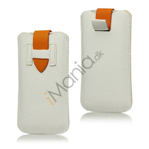 Image of   iPhone 5/5S/5C sleeve/etui med trækstrop og spændelås, hvid/orange