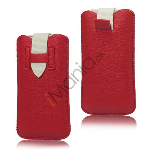 Image of   iPhone 5/5S/5C sleeve/etui med trækstrop og spændelås, rød/hvid