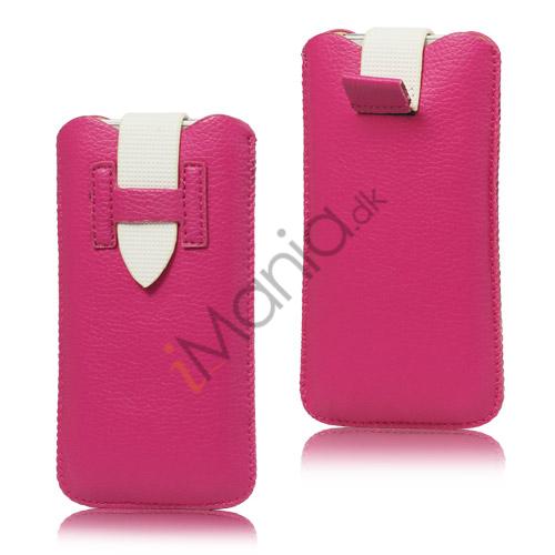 Image of   iPhone 5/5S/5C sleeve/etui med trækstrop og spændelås, pink/hvid