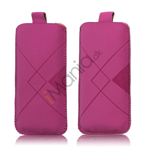 Image of   Stylish Grid Leather Pouch Case Cover med Pull Up Tab til iPhone 5 - Rose