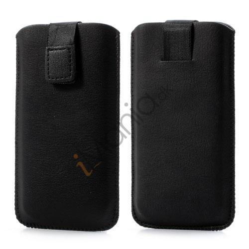 Image of   PU Læder-sleeve med trækstrop og velcrolås til iPhone 5 5S og 5C, sort